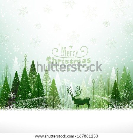 Christmas background with reindeer - stock vector