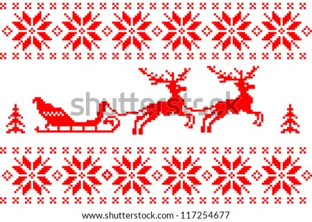 Christmas background with reindeer and sled - stock vector
