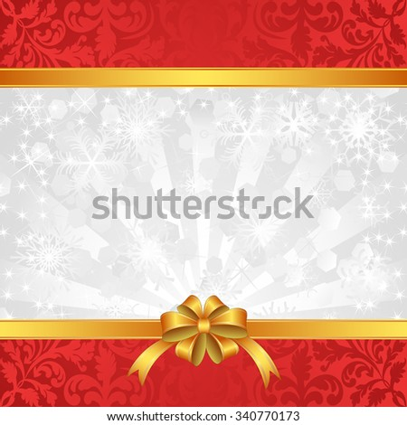 christmas background with ribbons and snowflakes - stock vector