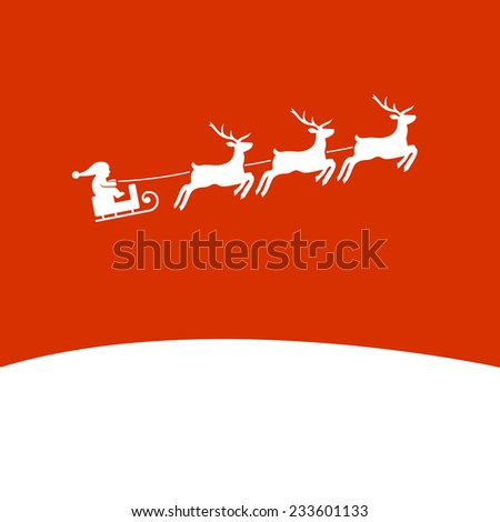 Christmas Background with Santa and Deers. Vector illustration - stock vector