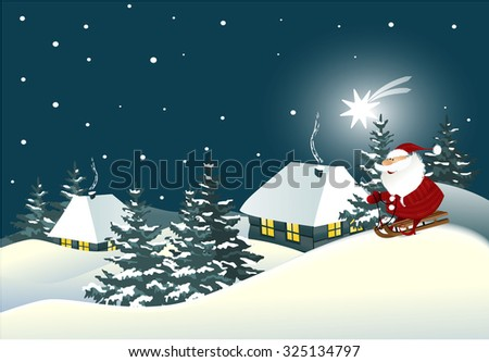 Christmas background with Santa Claus - stock vector