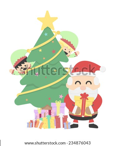 Christmas background with Santa claus and Christmas elf - stock vector