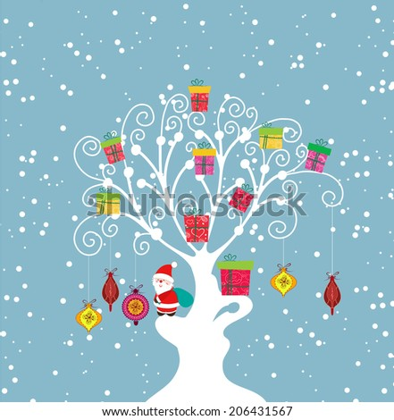 Christmas Background with santa claus and gift on tree - stock vector