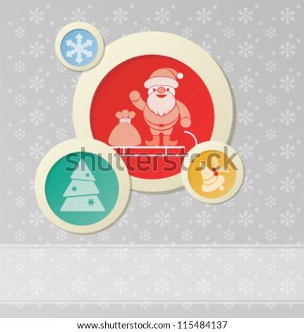 Christmas background with Santa Claus  and New Year symbol - stock vector