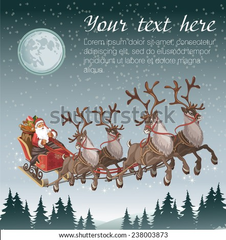 Christmas background with Santa driving his sleigh across the face of the moon on winter night and copy space for your text - stock vector