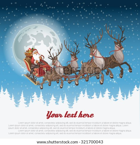 Christmas background with Santa driving his sleigh across the face of the moon on winter night and copyspace for your text - stock vector