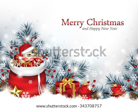 Christmas Background with Santa's Bag and Presents Laying in the Snow - stock vector