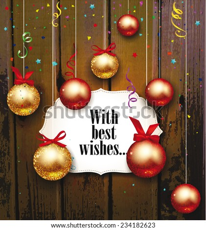 christmas background with shiny balls with the wooden background - stock vector