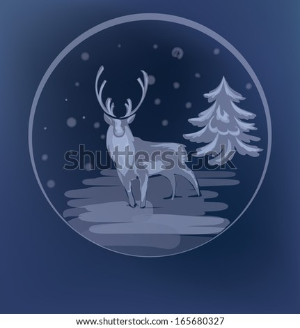 Christmas background with silhouette  standing reindeer sketch - stock vector