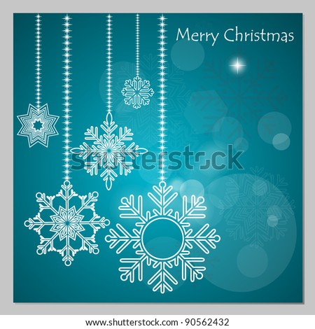 Christmas background with snowflake decoration - stock vector