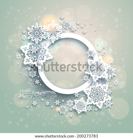 Christmas background with snowflakes and bokeh lights. Place for text - stock vector