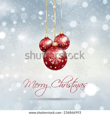 Christmas background with snowflakes and hanging baubles - stock vector
