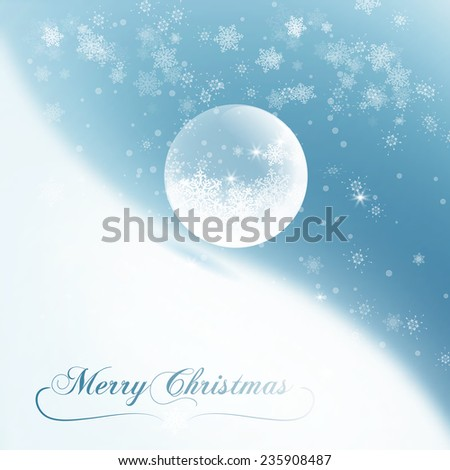 Christmas background with snowflakes and snow globe. Vector illustration EPS10 - stock vector