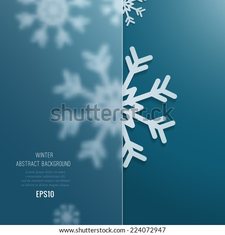 Christmas background with snowflakes and  with glass transparent place for the text - stock vector
