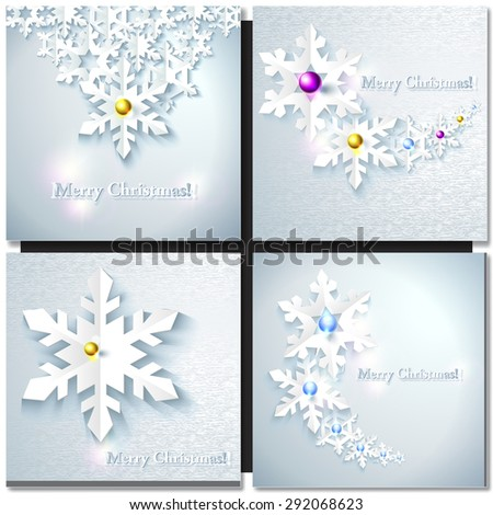 Christmas background with snowflakes. Paper design - stock vector