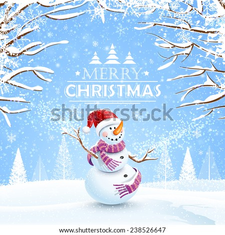 Christmas background with snowman and snowflakes. Vector illustration - stock vector