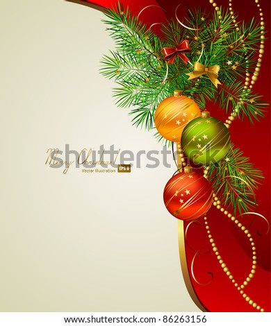 Christmas background with three evening balls - stock vector