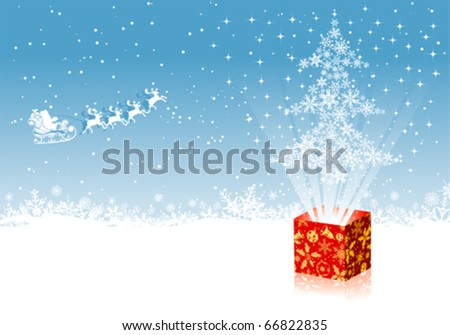 Christmas background with tree and Santa, element for design, vector illustration - stock vector