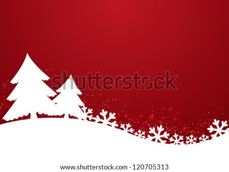 Christmas background with trees and snowflakes - stock vector
