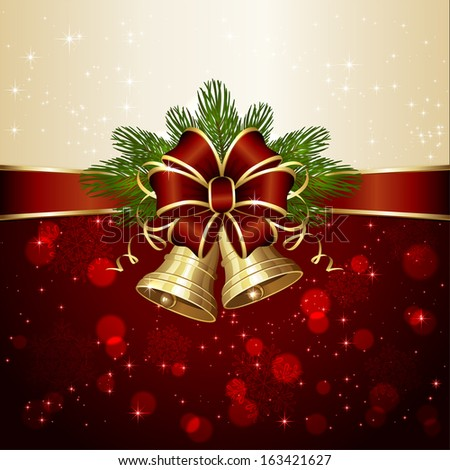 Christmas background with two bells, red bow,  spruce branches and blurry lights, illustration. - stock vector