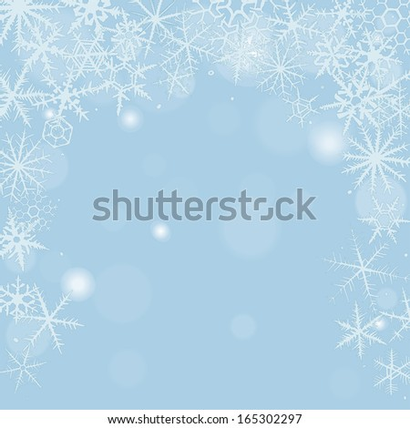 Christmas background with various snowflakes. - stock vector