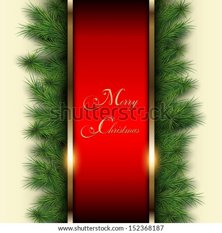 Christmas background with vector christmas tree. - stock vector