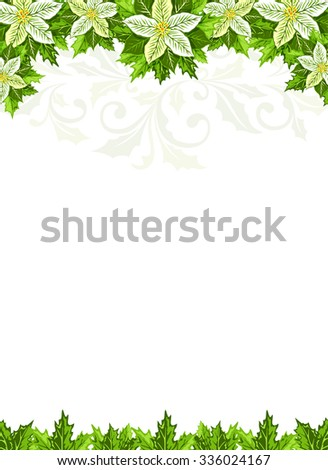 Christmas background with white poinsettia and holly leaves decoration elements. - stock vector