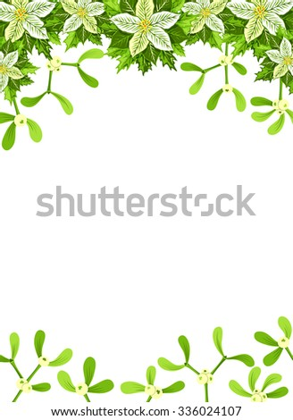 Christmas background with white poinsettia,  mistletoe and holly leaves decoration elements. Vertical banner with copy space - stock vector
