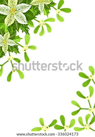 Christmas background with white poinsettia, mistletoe and holly leaves decoration elements. Vertical banner with corner decorations and copy space - stock vector