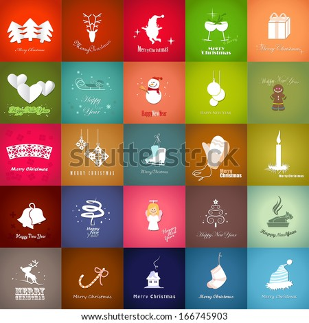 Christmas Backgrounds Set - Vector Illustration, Graphic Design Editable For Your Design. Modern Design Labels, New Business Concept. Icons Isolated On: Green, Blue, Red and Brown. Happy New Year  - stock vector