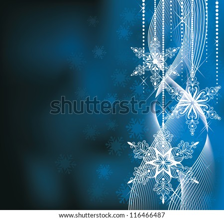 Christmas backround in blue colors with snowlakes. - stock vector