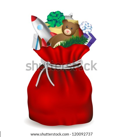 Christmas bag Santa Claus isolated, vector image - stock vector