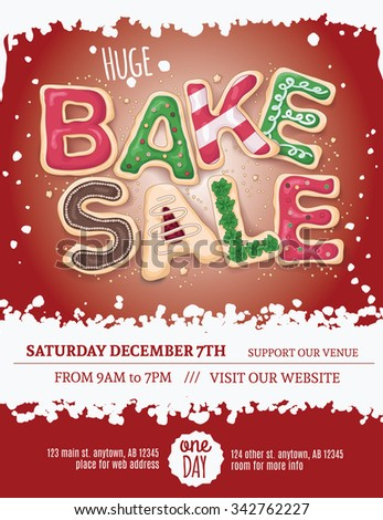 Christmas bake sale flyer template with hand drawn cookie letters on a red background - stock vector