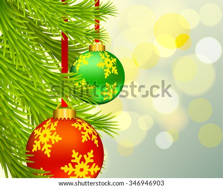 Christmas ball and bokeh light vector - stock vector