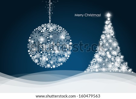 Christmas ball and Christmas tree with snowflakes. Vector illustration. - stock vector