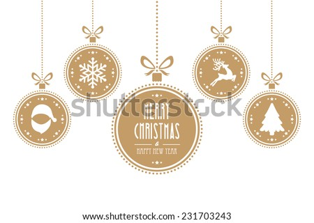 christmas ball gold isolated background - stock vector
