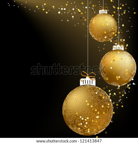Christmas ball made from a golden snowflakes.  + EPS8 vector file - stock vector