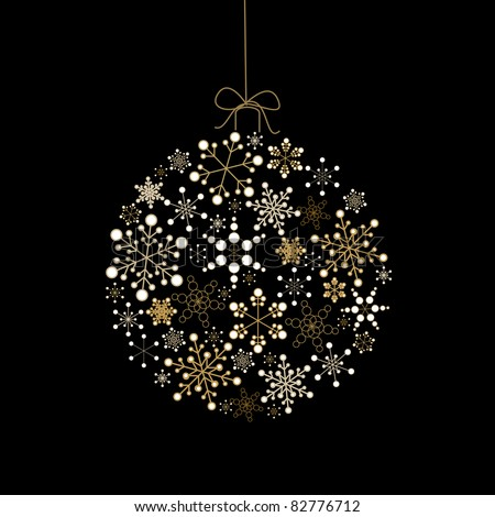 Christmas ball made from golden snowflakes on a black background (vector) - stock vector