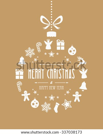 christmas ball ornaments gold background - stock vector