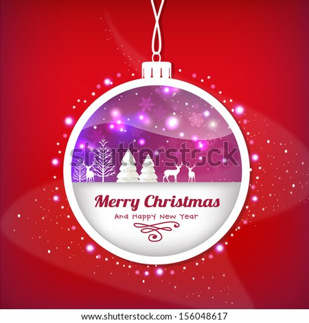 Christmas ball with abstract Christmas background - stock vector