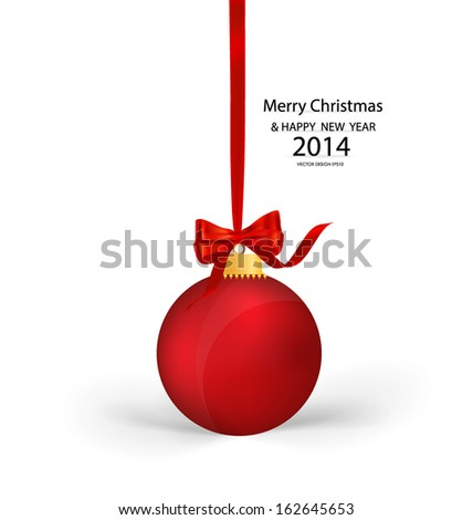 Christmas ball with ribbon and bow, vector illustration. - stock vector