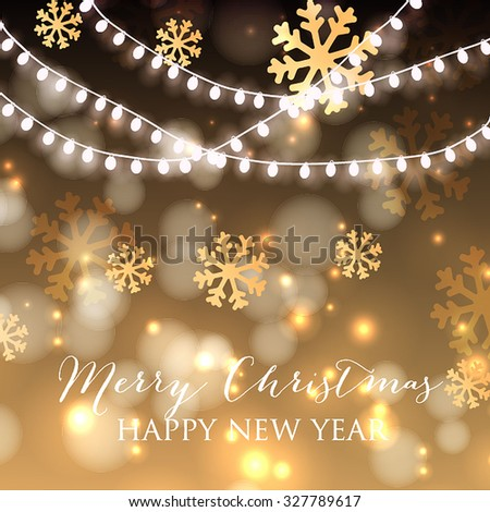 Christmas Balls and Stars. Merry Christmas and Happy New Year Card Xmas Decorations. Blur Silver Snowflakes. Vector. - stock vector