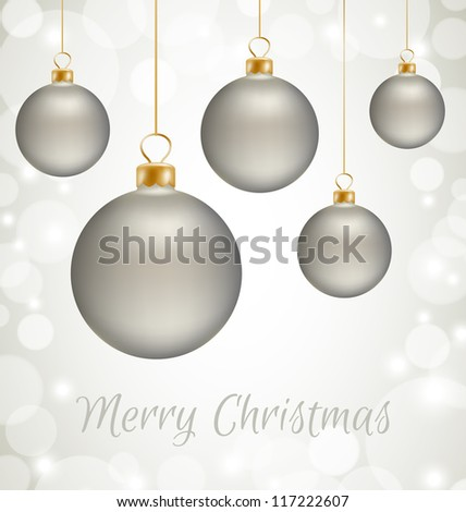 Christmas balls and white snow abstract background - stock vector