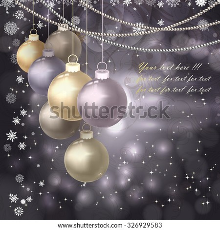 Christmas balls, beads, snowflakes on a dark magic background. Vector illustration. - stock vector