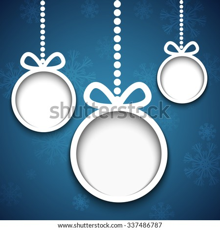 Christmas balls cut from paper on blue background with snowflakes. - stock vector
