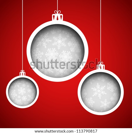 Christmas balls (cut the paper). Eps 10 - stock vector