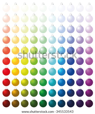 Christmas balls, exactly one hundred pieces sorted like a color chart - from very bright to intense dark shades of all colors. Isolated vector illustration on white background. - stock vector