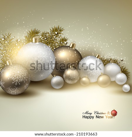 Christmas balls, golden Xmas baubles. Garland. Vector - stock vector
