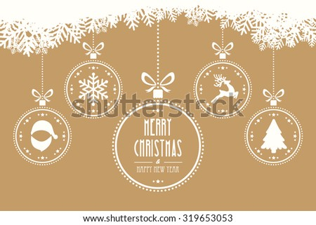 christmas balls hanging gold background - stock vector