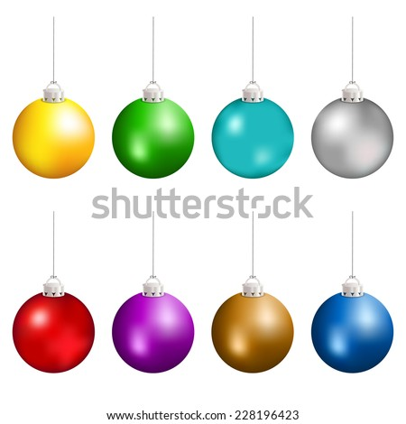 Christmas balls in different colors hanging. Vector illustration. - stock vector